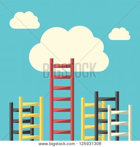 Success ladder leading to cloud and many short ones. Business goal competition unique progress challenge hope and leadership concept. EPS 8 vector illustration no transparency
