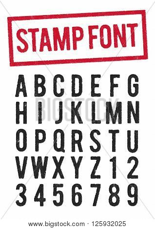 Vector worn stamp typeface, use the