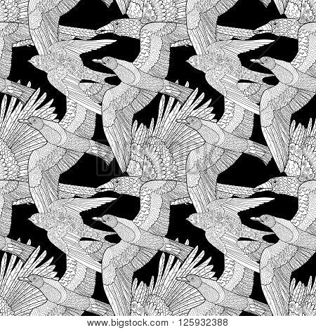 Seamless pattern with flying raven, seagull and swallow with high details. Adult anti-stress coloring page with birds. Black white hand drawn bird.Tile texture in zentangle style. Vector illustration.