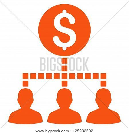 Money Recipients vector toolbar icon. Style is flat icon symbol, orange color, white background, square dots.