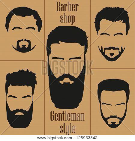 Set men's hair with a beard. Barber shop