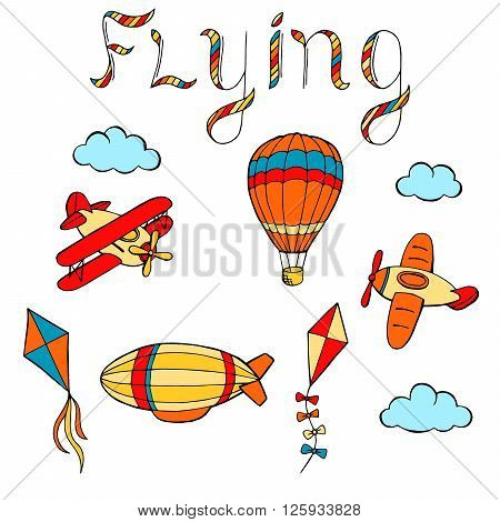 Flying airplane balloon airship kite cloud graphic art color isolated illustration vector