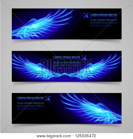 Mystic banners with blue flaming wings for your design
