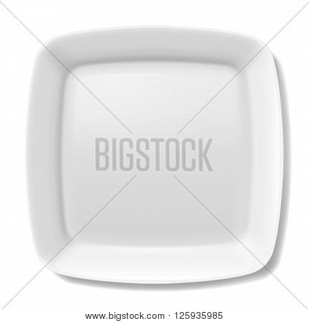 Empty white square plate with rounded borders isolated on white background