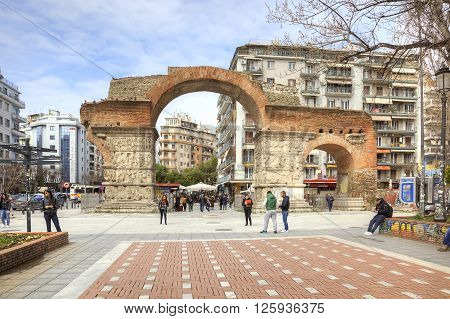 THESSALONIKI GREECE - March 17.2016: Medieval Arch Galerius in the old city preserved until today. The arch was built in 298 to 299 years