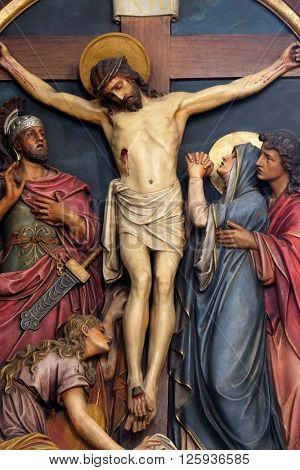 ZAGREB, CROATIA - SEPTEMBER 14: 12th Stations of the Cross, Jesus dies on the cross, Basilica of the Sacred Heart of Jesus in Zagreb, Croatia on September 14, 2015