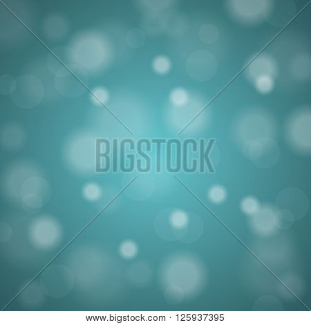 Abstract blurred background of turquoise shiny Christmas tree decorations. Vector illustration