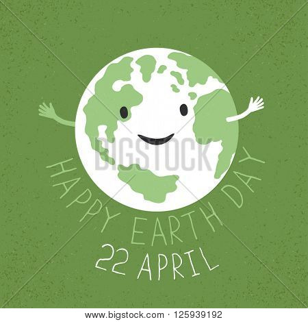 Earth Day Illustration. Earth smiling and reveals a hug. Grunge layers easily edited.