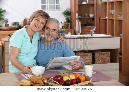 Portrait of an elderly couple at breakfast
