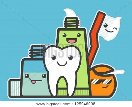 Best friends of healthy tooth. Hygiene concept. Funny vector illustration.