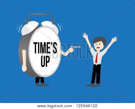 Business workforce Concept. time's up clock on blue background
