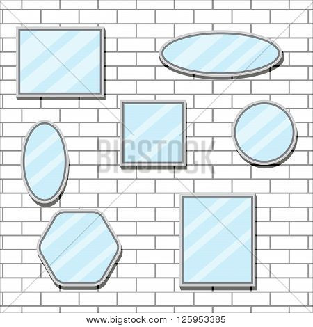 Mirror set design form on brick wall. Mirror reflection and mirror frame bathroom mirror and wall mirror oval furniture design fashion. Vector flat design illustration