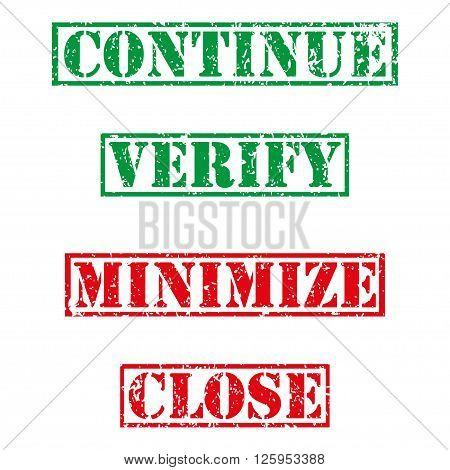 Four stamp with grunge. Continue verify minimize close
