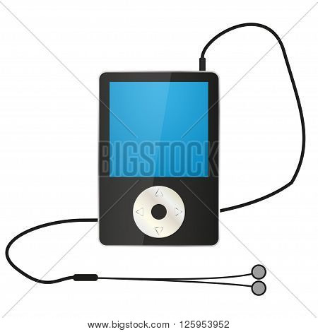 Black MP4 player with headphones. Vector illustration