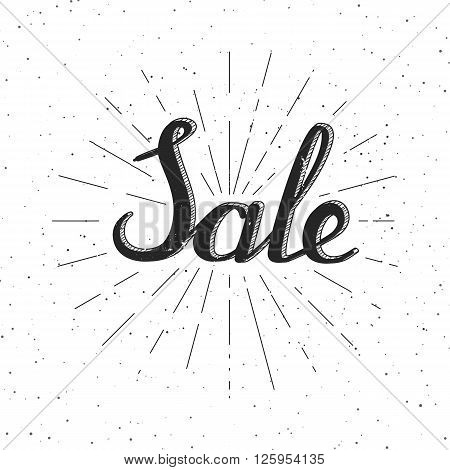 Sale - background with lettering and sun rays. Vector illustration in vintage or hipster style. Background or banner