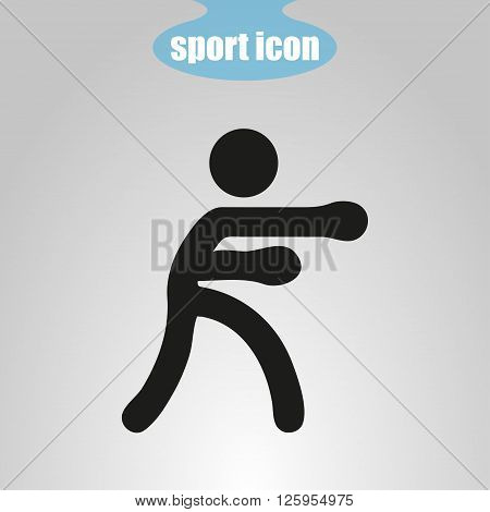 Icon of boxer on a gray background. Vector illustration