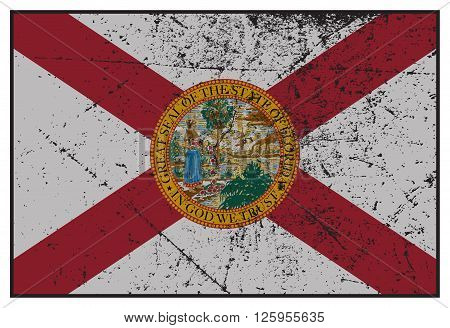 Florida State Flag Grunged