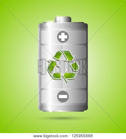 Recycled energy battery icon on green background