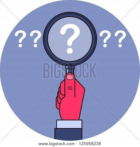 Analysis and search. Male hand holding magnifying glass with question mark inside. Analysis of the problem and searching for answer concept illustration. Clipping mask used.