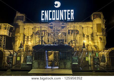 MUNICH, GERMANY - SEPTEMBER 18, 2015: Nightshot of the Encounter building on Theresienwiese where a new entertainment show takes place