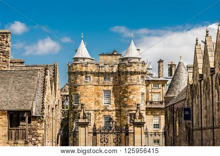 Holyrood Palace, is the official residence of the British monarch in Scotland. Located at the bottom of the Royal Mile in Edinburgh, at the opposite end to Edinburgh Castle ** Note: Visible grain at 100%, best at smaller sizes