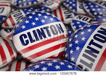 WASHINGTON, DC - APRIL 14, 2016: 3D Illustration of presidential campaign buttons of Hillary Clinton with very shallow depth of field.