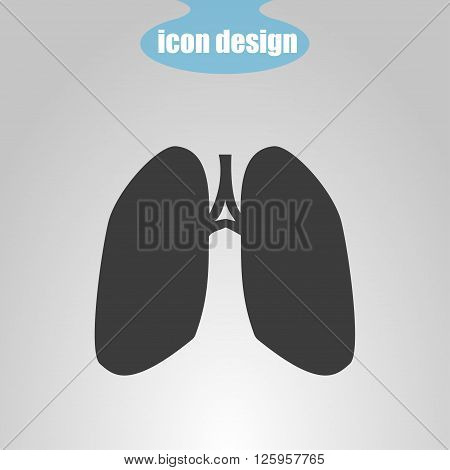 Icon of lungs on a gray background. Vector illustration
