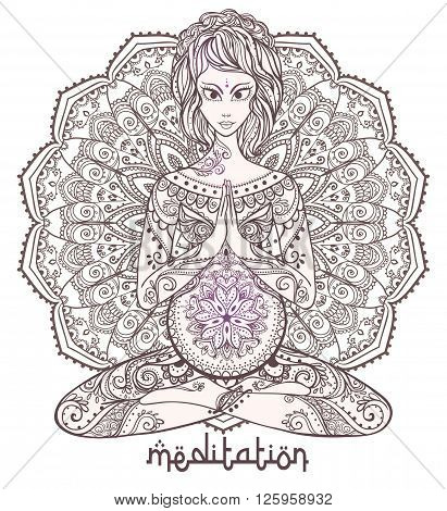 Vector yoga card for pregnant women. Healthy life, element hand drawn. Perfect cards for any other kind of design, yoga center concept, mother, baby  medallion, yoga, india, mandala, kaleidoscope