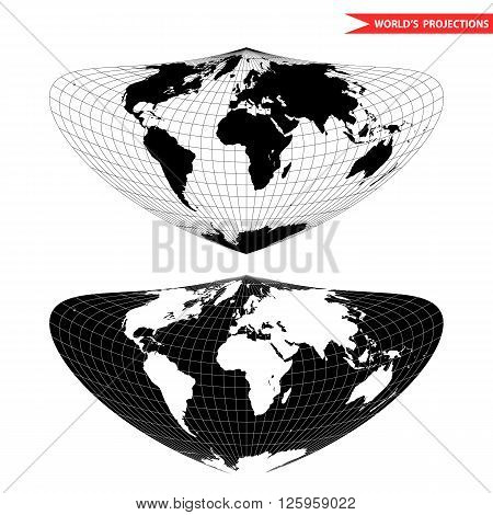 Bonne world map projection. Black and white world map vector illustration.