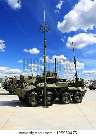 MOSCOW REGION  -   JUNE 17: Military armored tracked vehicle with antennas for field communication  -  on June 17, 2015 in Moscow region