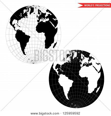spherical world map projection. Black and white world map vector illustration.