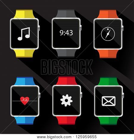 Set of smart watch icon. vector illustration.