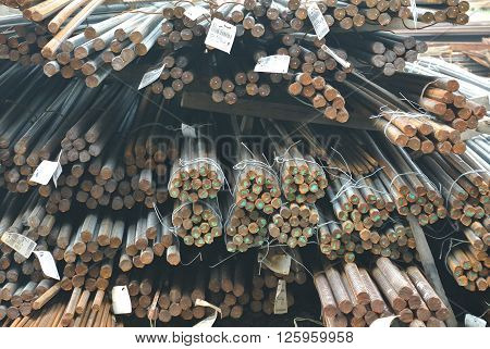 JOHOR, MALAYSIA -SEPTEMBER 19, 2015: Hot rolled deformed steel bars or steel reinforcement bar. The reinforcement bar is part of building strcture function to strengthen the concrete.