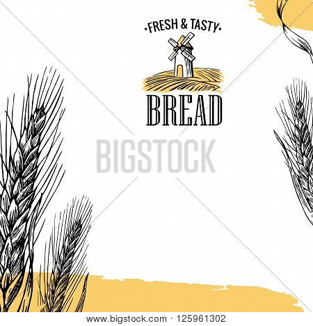 Mill Wheat field Ears. Engraving illustration. Vintage vector engraving illustration for label corporate identity badges presentations flayer for bakery shop.