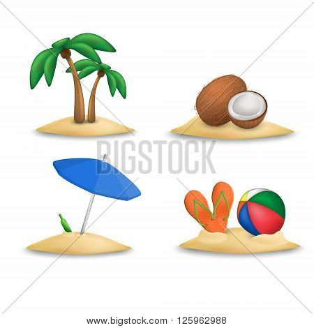 Beach icons set. Beach ball and beach slippers. Coconuts. Beach umbrella. Palm tree. Set of beach icons vector.