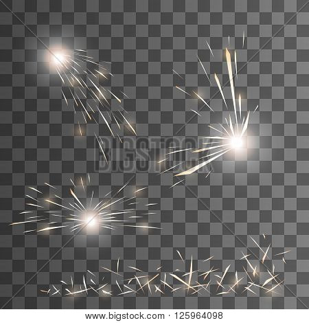Vector spark effect. Sparks vector. Set of vector sparks. Transparent background. Glow special effect. EPS 10.