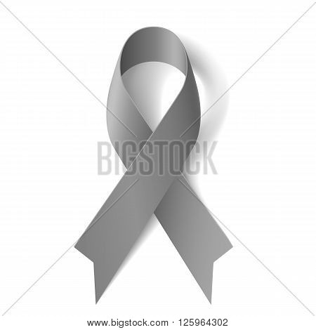 Grey ribbon as symbol of borderline personality disorder diabetes asthma and brain cancer awareness