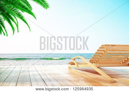 Chaise longue at the beach with clear skies and one palm tree