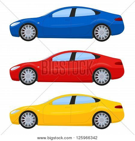 Sports cars in different colors, vector illustration isolated on white