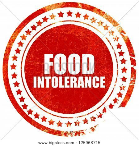 food intolerance, isolated red stamp on a solid white background
