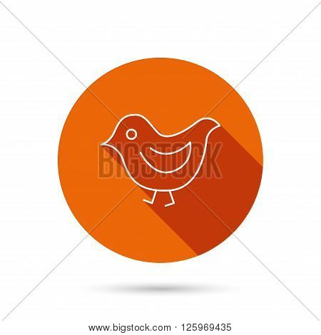 Bird icon. Chick with beak sign. Fowl with wings symbol. Round orange web button with shadow.
