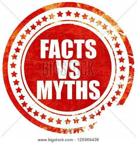 facts vs myths, isolated red stamp on a solid white background