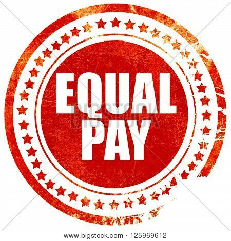 equal pay, isolated red stamp on a solid white background