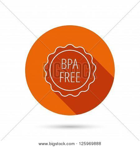 BPA free icon. Bisphenol plastic sign. Round orange web button with shadow.