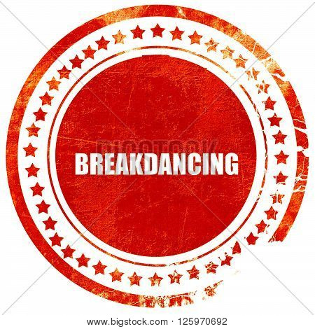 breakdancing, isolated red stamp on a solid white background