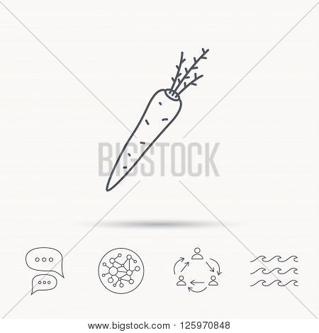 Carrot icon. Vegetarian food sign. Natural vegetable symbol. Global connect network, ocean wave and chat dialog icons. Teamwork symbol.