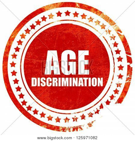age discrimination, isolated red stamp on a solid white background