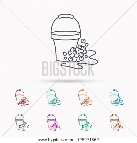 Soapy cleaning icon. Bucket with foam and bubbles sign. Linear icons on white background.