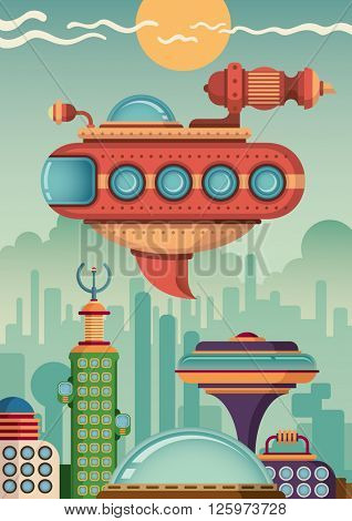 Futuristic flying vehicle. Vector illustration.