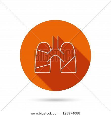 Lungs icon. Transplantation organ sign. Pulmology symbol. Round orange web button with shadow.